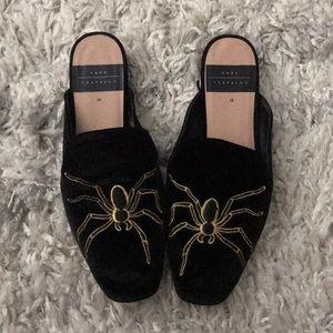 Black velvet mules